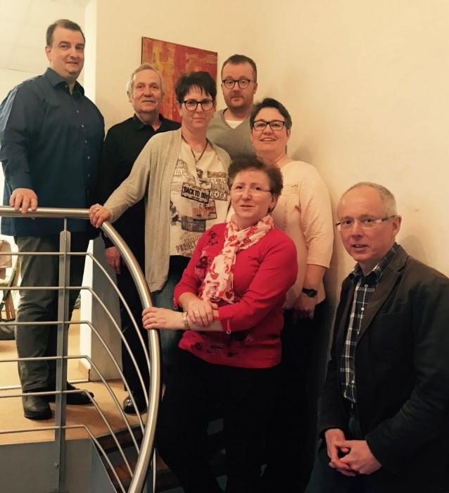 Vorstand der SPD Schönebeck (Elbe): v.l.n.r. Frank Schiwek, Helmut Rücker, Evelyne Theilmann, René Wölfer (Vorsitzender), Nadine Schiwek, Christina Jeromin-Sandau, Prof. Martin Kütz